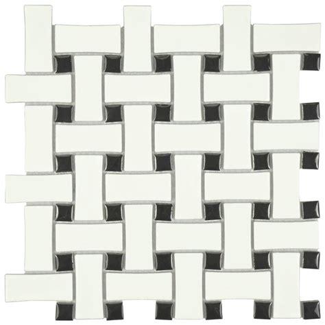 1 X3 Gray Ceramic Tile by Merola Tile Metro Basket Weave Matte White And Black 10 1