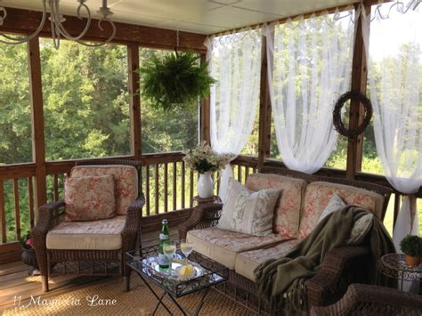 Magnolia Homes inexpensive sheer curtains add privacy to screened porch