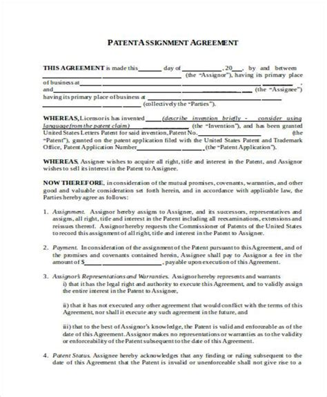 patent assignment agreement template patent assignment form patent application template 12