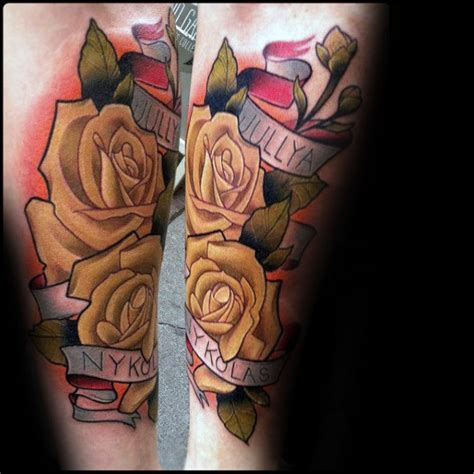rose and banner tattoos 60 banner tattoos for waving word ink design ideas