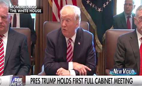 trump s first cabinet meeting trump s first cabinet meeting a complete sh tshow after