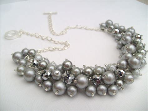 pearl bead necklace pearl beaded necklace bridal jewelry cluster necklace