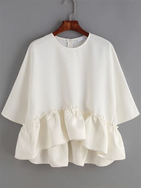 White Blouse white neck ruffle dip hem blouse shein sheinside