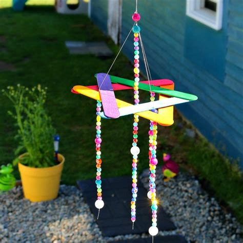 wind crafts for beaded rainbow wind chime family crafts