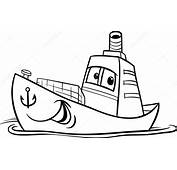 Container Ship Cartoon Coloring Page — Stock Vector