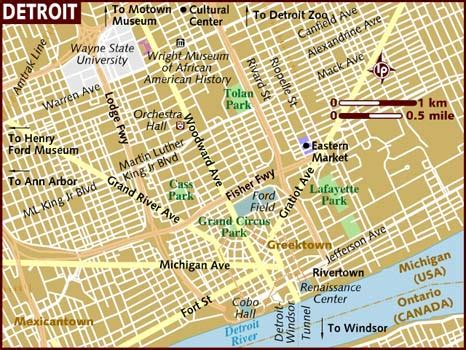 map of usa detroit map of detroit