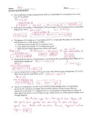 Specific Heat Worksheet Answers by Specific Heat Worksheet Answers Lesupercoin Printables