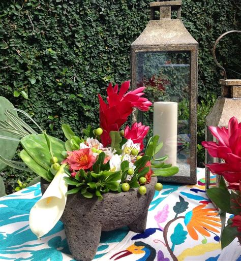 Flower Molcajete Oaxacan Table Runners Ready For Mexican Mexican Centerpieces Ideas