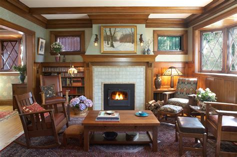 arts and crafts interior design ideas arts crafts fireplace traditional family room minneapolis by trehus architects