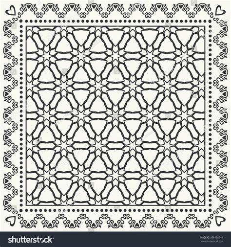 Pashmina Tribal Line black white graphic line pattern square stock vector 598468649