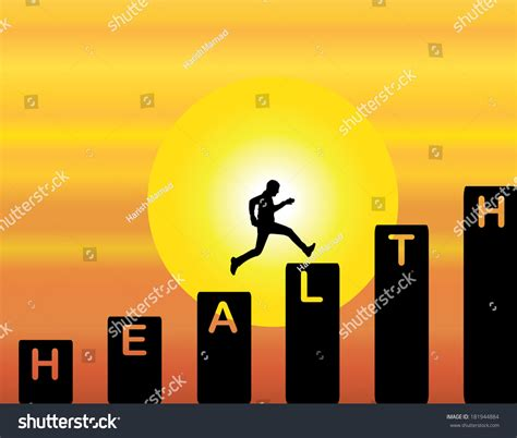 Jump Risk Yellowsun Coach running stairs which text health stock illustration 181944884