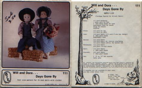 pattern maker of days gone by will and dora days gone by 15 quot dolls pattern bie orig