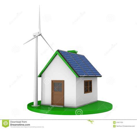 wind casa casa 233 is solares e turbina e 243 lica imagem de stock