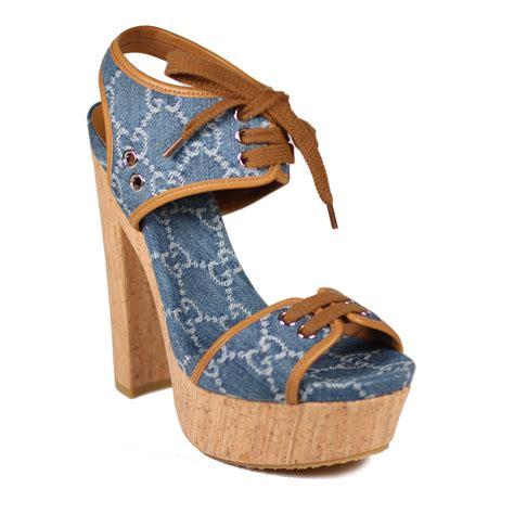 gucci shoes denim guccisima platform cork sandals