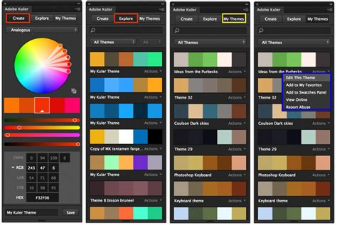 create color themes with adobe color themes panel in illustrator adobe kuler panel is now available for photoshop cc 2014