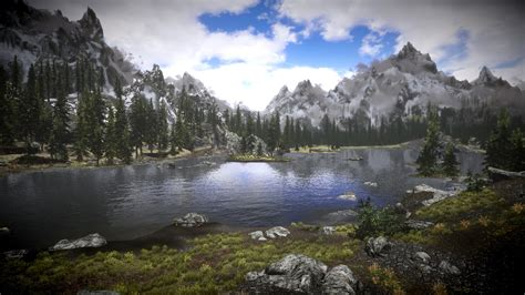 skyrim landscape skyrim landscape colorful mountain view see lake ufer