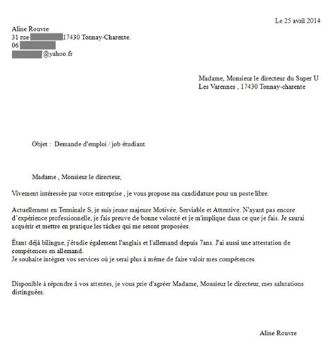 Exemple Lettre De Motivation Vendeuse Etudiante Modele Lettre De Motivation Etudiant