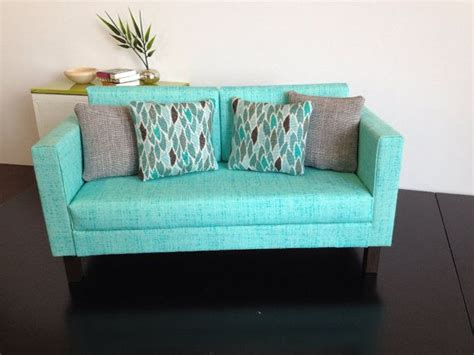 aqua blue couch doll sofa aqua blue dollhouse furniture 1 6 scale