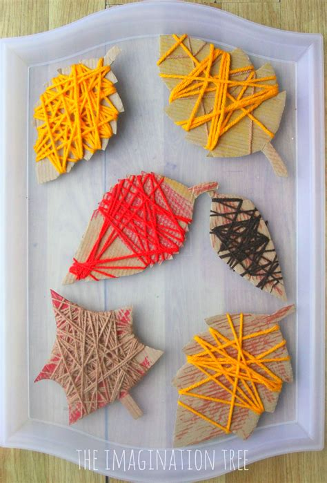 Christmas Craft Ideas For Kids To Make - yarn wrap autumn leaves the imagination tree