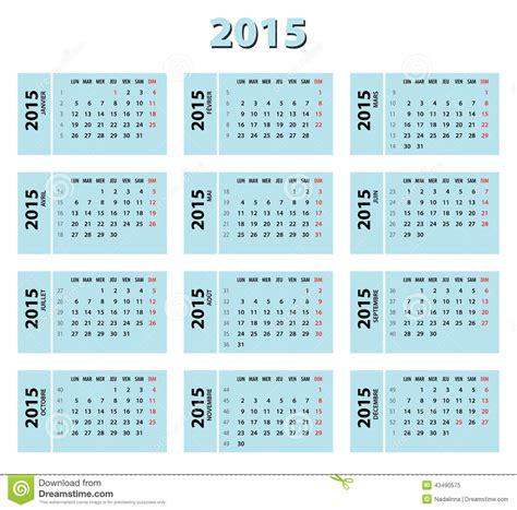 calendario franc 233 s azul 2015 ilustraci 243 n vector