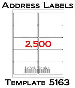 avery template for 5163 2500 laser ink jet labels blank address 250 sheets 4 quot x2