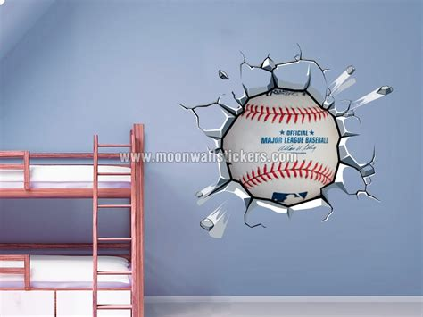 Baseball Wall Mural baseball breaking wall stickers moonwallstickers com