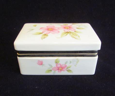 Vintage Box Jewelry Box Trinket Box Ceramic Box Floral Box