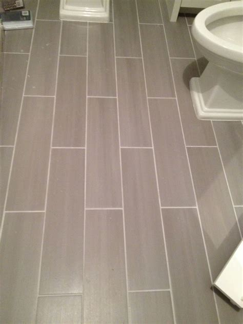 Tile Bathroom Flooring by Guest Bath Plank Style Floor Tiles In Gray