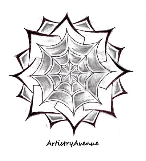 symectrical spiderweb flower tattoo by artistryavenue on