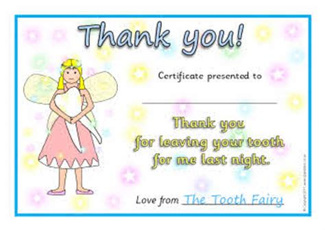 tooth fairy certificates sb5303 sparklebox