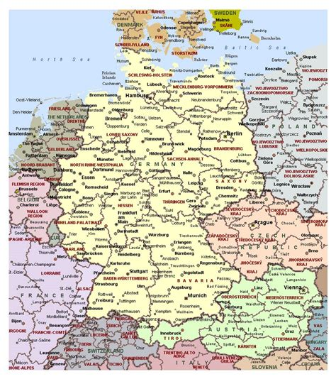 map with cities geography detailed map of germany