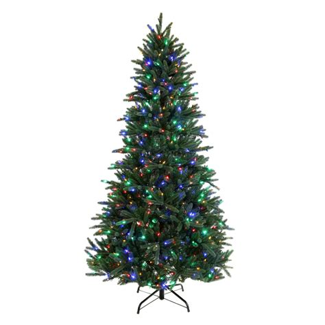 lowes christmas tree lights shop living 7 5 ft pre lit pine artificial tree with 600 count color changing