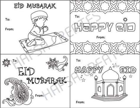 eid card templates to colour happy eid mubarak printable coloring cards digital file pdf