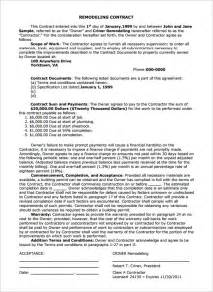 remodeling contract template 7 remodeling contract templates free word pdf format