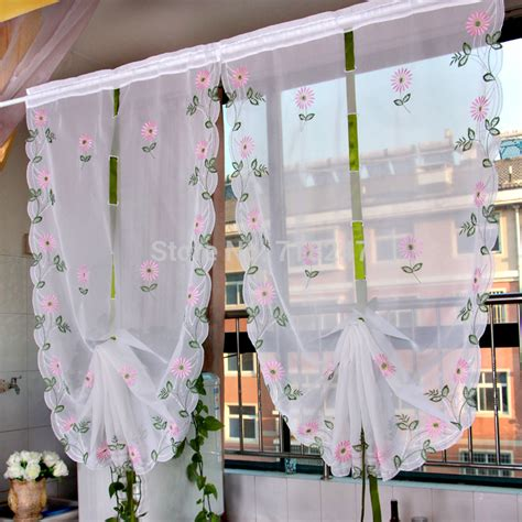 Pull String Curtains Sale Embroidery Ballon Curtain Ready Made Floral Window Kitchen Draw String