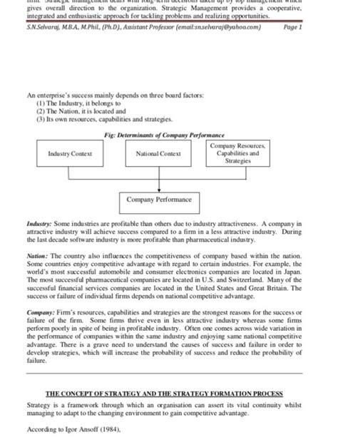 Strategic Planning Mba Notes by Notes For Mba Strategic Management Unit I
