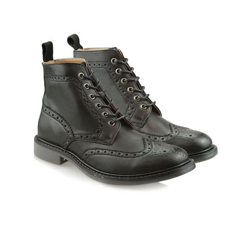 black brogue boots mens black coloured sole brogue boots