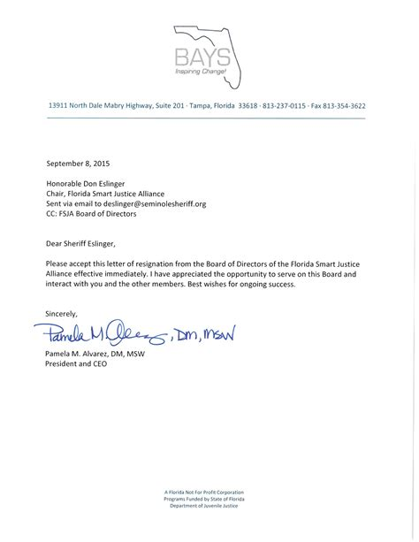 Church Board Member Resignation Letter Criminal Justice Reform Organization Led By Barney Bishop Bleeding Board Members Florida Politics