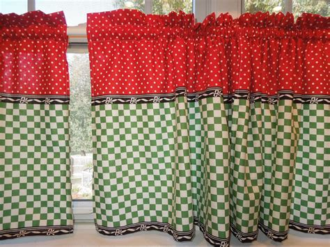 Retro Kitchen Curtains 1950s Diner Style Four By