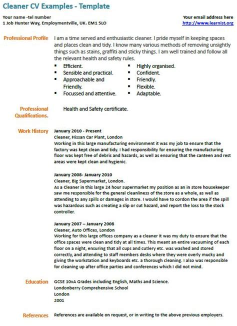 cleaner cv exle learnist org