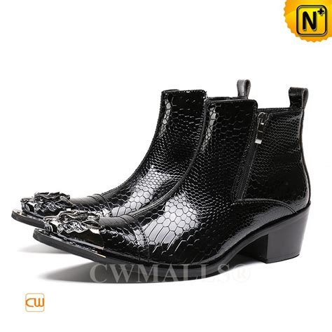 cwmalls 174 black patent embossed leather boots cw707210