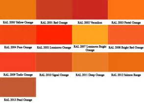 shades of bright orange ral colour chart warwick glass