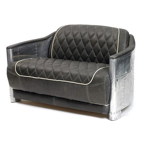 riveted metal aviator tufted leather sofa chair