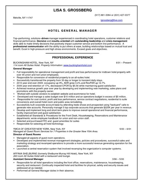 Hotel General Manager Resume by Hotel General Manager Resume Template No2powerblasts