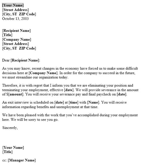 thank you letter after layoff notice of layoff letter template useful letters templates