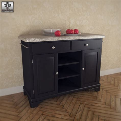 kitchen cart with gray granite top 3d model humster3d