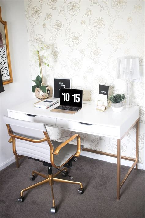 White Office Desk Ikea 25 Best Ideas About Gold Office On Gold Office Decor Gold Desk Accessories And