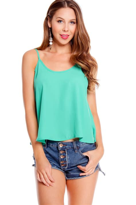 Sleeveless Spaghetti Top mint spaghetti scoop neckline sleeveless casual top