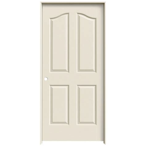 Jeld Wen 36 In X 80 In Molded Textured 4 Panel Eyebrow White Moulded Interior Doors