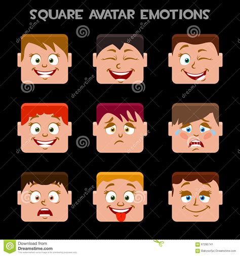 create a avatar create a square avatar emotions stock vector image 67285741